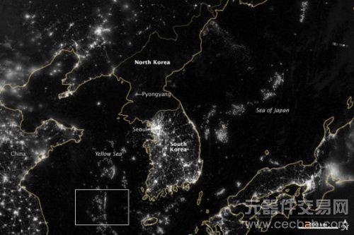 每日卫星照:朝鲜半岛夜晚灯光对比明显(图)