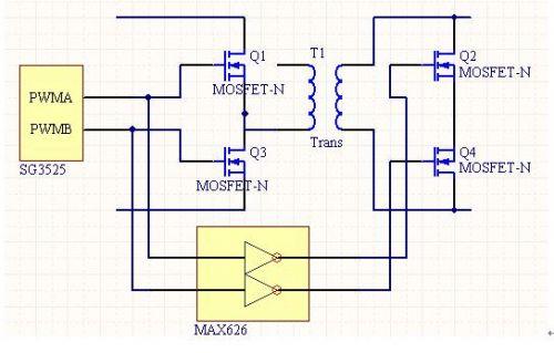 方案二:将sg3525的驱动信号反向后送入输出整流mos管