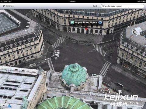 苹果地图3d显示埃菲尔铁塔凡尔赛宫等巴黎景点