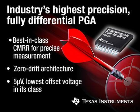 TI 推出业界最高精度的全差动可编程增益放大器0