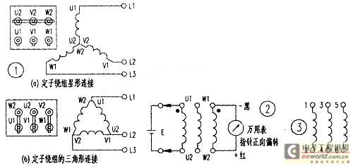 用万用表判定三相异步电动机绕组同名端