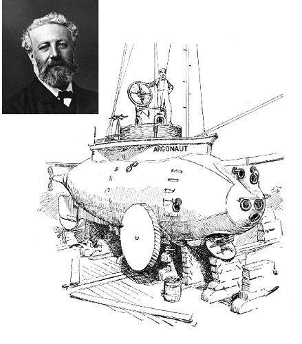 但在他的小说中描述了这两种新颖的装置;1894年打造出全世界第一艘在图片