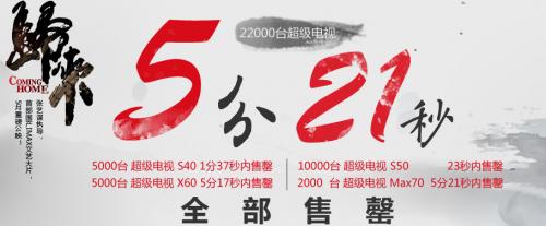 2.2万台乐视TV 5分21秒售罄 X50 Air 22日开卖0