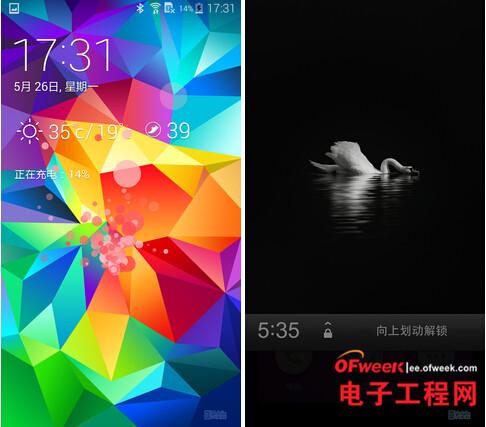 左三星s5,右锤子手机t1锁屏界面图片