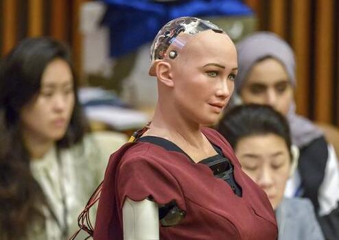 AI时代 机器人公民索菲亚出席联合国会议0