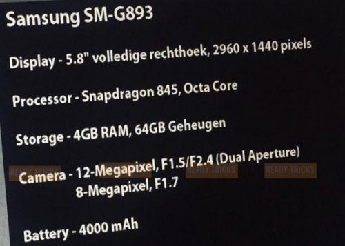 三星S9曝光 4000mAh电池BT级防水抗摔1