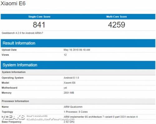 层出不穷 小米新机E6配置3G内存+骁龙6251
