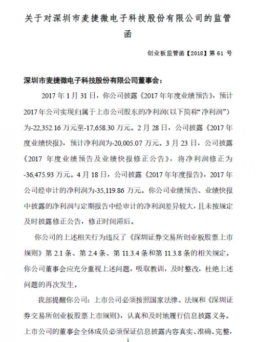 麦捷科技收业绩披露违规收创业板监管函函0