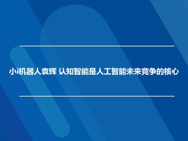 小i机器人袁辉 认知智能是人工智能未来竞争的核心