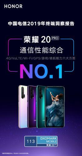 荣耀20 PRO霸榜《中国电信2019终端洞察报告》 手机通信性能综合第一名0