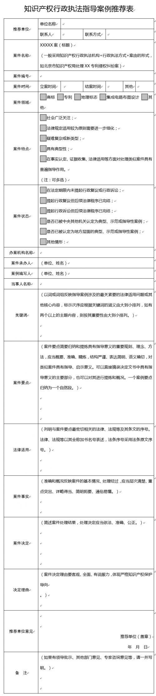 国家知识产权局印发通知,征集知识产权行政执法执法案例1