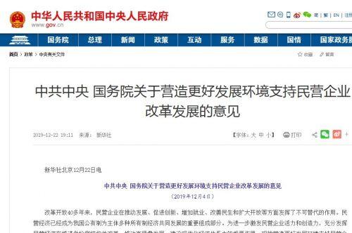 中共中央、国务院印发指导意见,优化营商环境,支持民营企业0