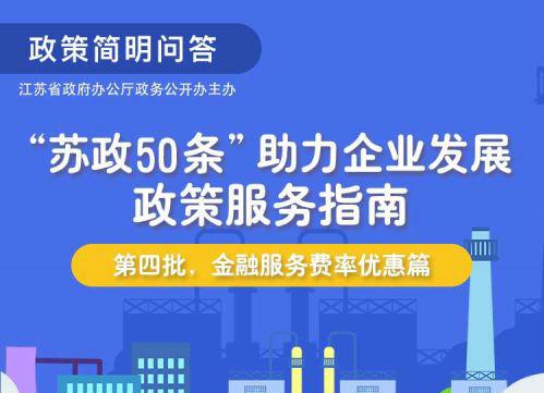 """""""苏政50条""""助力企业发展政策服务指南(第四批,金融服务费率优惠篇)"""